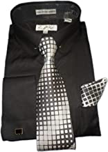 Karl Knox SX4404 Mens Black Round Eyelet Collar French Cuff Woven-Look Dress Shirt + Silver Tie Set