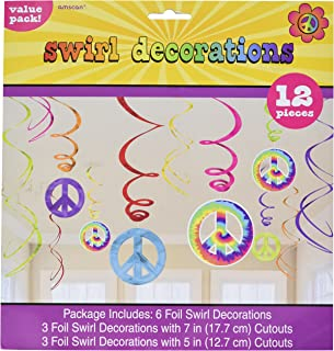 Amscan Groovy 60's Party Peace Sign Swirl Decorations Value Pack, One Size, Multicolor, 6ct