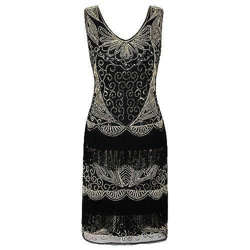 PrettyGuide Women s Flapper Dress Beaded Deco Fringed Inspired Vintage  1920s Dress 8330418d2660b