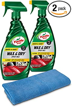Turtle Wax 50834 1-Step Wax & Dry-26 oz. Double Pack with Microfiber Towel, 52. Fluid_Ounces, 2 Pack: image