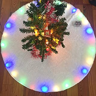 Flow.month Christmas Tree Skirt 48 Inch Faux Fur Christmas Tree Skirt Built-in LED Light for Xmas Tree Holiday Decorations