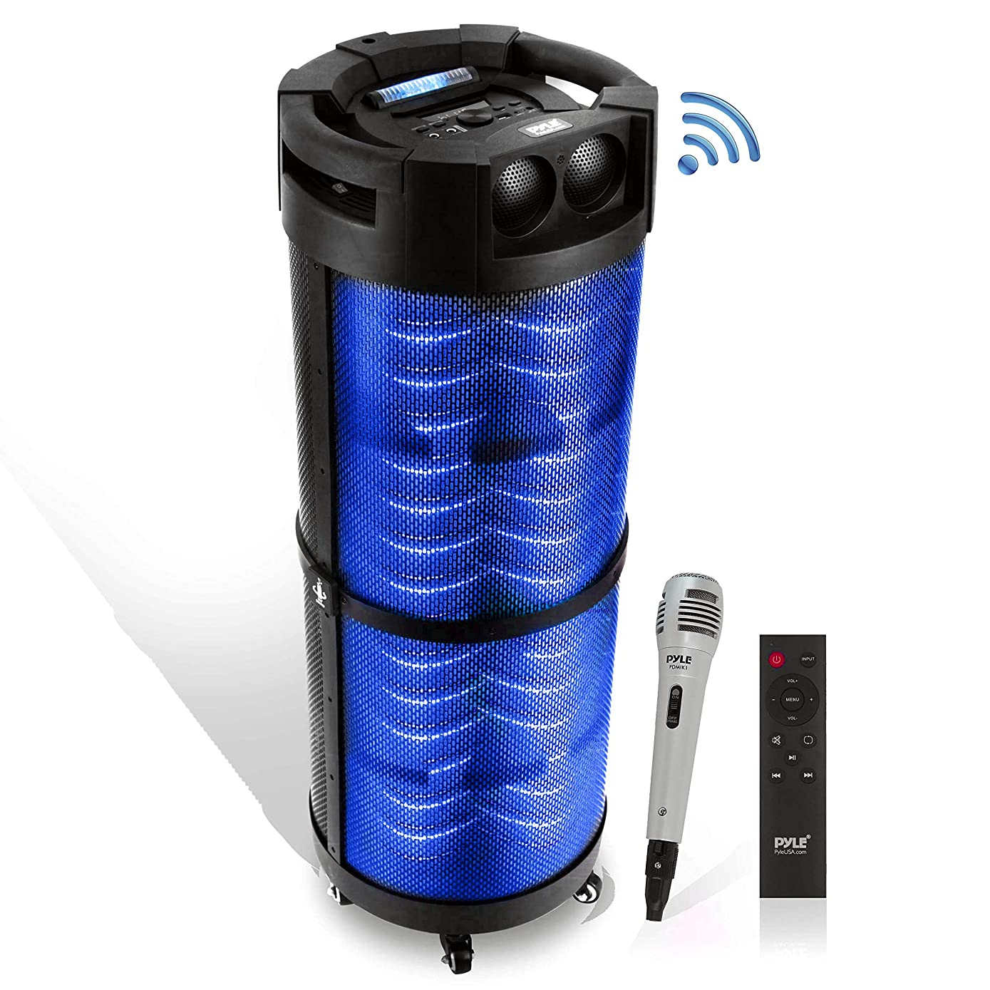 Portable Boombox PA System Speaker - 800W Rechargeable Batteries, Wireless Bluetooth, LED Lights On Off Switch FM Radio USB/ MP3 Player, Aux, 1/4