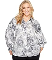 Plus Size Long Sleeve Speckle Atmosphere Button Down Blouse