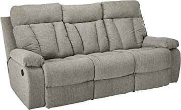 Signature Design by Ashley Mitchiner Reclining Sofa with Drop Down Table, Fog