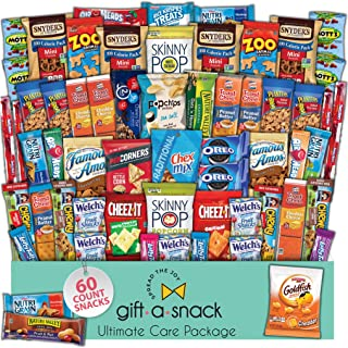Snack Box Variety Pack (60 Count) Fathers Day Gift Basket for Dad - College Student Care Package, Prime Food Arrangement, ...