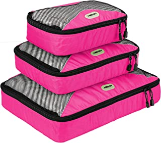 HEXIN 3 Set Travel Packing Cubes with Shoe Bag - Travel Bag Organizer,Pink