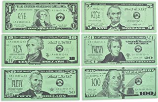 Learning Advantage Play Bills Set - 35 Ones, 25 Fives, 20 Tens, 15 Twenties, 5 Fifties & 5 Hundreds - Replica Bills for Pretend Play with Fake Currency