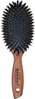 Spornette DeVille Cushion Oval Boar Bristle Hair Brush (#342) with Wooden Handle for Straightening, Smoothing, Detangling, Daily Maintenance, Styling & Brush Outs - All Hair Types for Women, Men, Kids