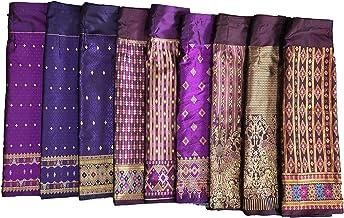 Thai skirt Thai facric cotton fabric Pastel  color from Natural plant dye Thai-Lao sarong Thai dress Hand woven cotton