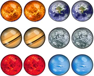 LilMents 6 Pairs Solar System Galaxy Universe Unisex Mens Womens Stainless Steel Stud Earrings