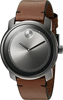 Movado Mens Swiss Quartz Stainless Steel and Brown Leather Casual Watch (Model: 3600366)