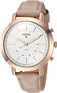 Women Neely Stainless Steel and Leather Hybrid Smartwatch, Color: Rose Gold-Tone, Beige (Model: FTW5007)