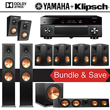 Klipsch RP-280F 7.1.2-Ch Reference Premiere Dolby Atmos Home Theater Package with Yamaha AVENTAGE RX-A3070BL 11.2-Channel Network AV Receiver
