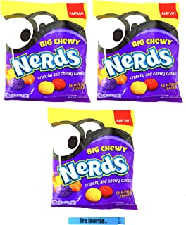 Nerds Big Chewy – Crunchy and Chewy Nerds Candy 6 Ounce – Pack of 3 with Tru Inertia Chip Clip