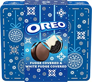 Oreo [Fudge & White Fudge Covered Chocolate Sandwich Cookies Tin, Original Flavor Crème (24 Count (Pack of 1) Cookies Total)