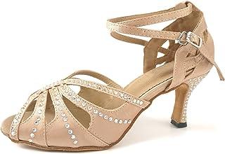 Women's Rhinestone Latin Dance Shoes, Dancing Salsa Tango Rumba Chacha Samba in Ballroom, Practice, Performance, Party - Standard Heel Height