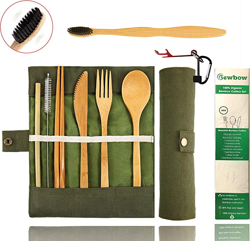 Bamboo Utensils Cutlery Set BEWBOW Reusable Cutlery Travel Set Eco Friendly Wooden Silverware For Kids Adults Outdoor Portable Utensils With Case Bamboo Spoon Fork Knife Brush Chopsticks