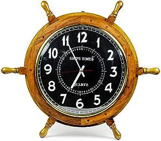 Nautical Moon Light Blue Large Wooden Ship Wheel with Ship's Time Captain's Clock - Pirate Home Decorative Clock - Nagina ...