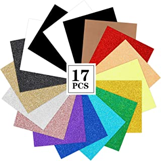 Glitter Heat Transfer Vinyl HTV 16pcs Iron on Vinyl Includes 12pcs Glitter Sheets, 4pcs White and Black Sheets for T-Shirt...