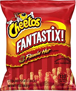 Cheetos Fantastix Flamin' Hot Flavored Potato and Corn Snacks, 1.0 oz, 104 Count