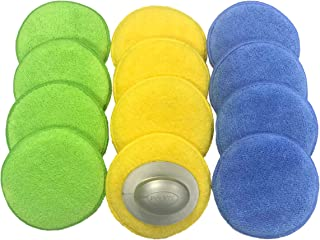 Polyte Microfiber Detailing Wax Applicator Pad w/Handle, 5 in, 12 Pack (Multi-Blue,Green,Yellow)