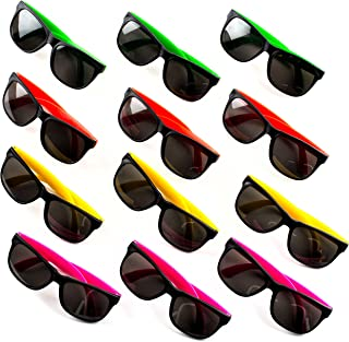 Neliblu Neon Bulk Kids Sunglasses Party Favors - 24 Pack - Bulk Pool Party Favors, Goody Bag Fillers, Beach Party Favors, Bulk Party Pack of 2 Dozen