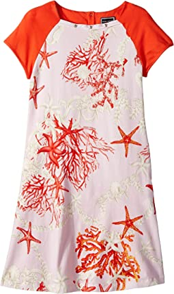 Versace Kids Short Sleeve Dress Starfish Print (Big Kids)