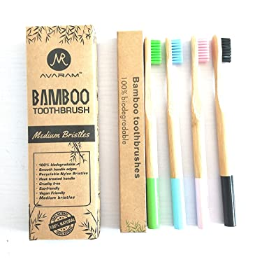 AVARAM's 100% Eco-Friendly Natural Bamboo Toothbrushes, Medium BPA Free Colored Bristles, Total Dental Care, for Men and Women, A Pack of 4