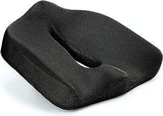 Vitabo - Cojín ortopédico para aliviar la presión del coxis, ergonómico y Alivia el Dolor, Espuma viscoelástica, Negro, 45 x 40 cm