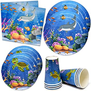 """Ocean Sea Life Birthday Party Supplies Tableware Set 24 9"""" Plates 24 7"""" Plate 24 9 Oz Cup 50 Lunch Napkins Underwater Worl..."""