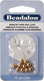 Beadalon Memory Wire End Cap 5mm Round Gold Plated, 10-Piece