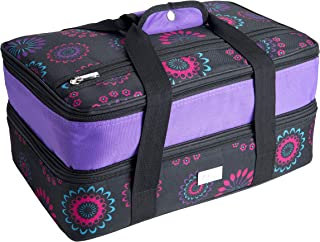 Pursetti Casserole Carrier - Expandable Insulated Bag Perfect as Lasagna & Pie Carrier for Potluck, Family and Holiday Parties (Purple Circle w/Purple Accent)