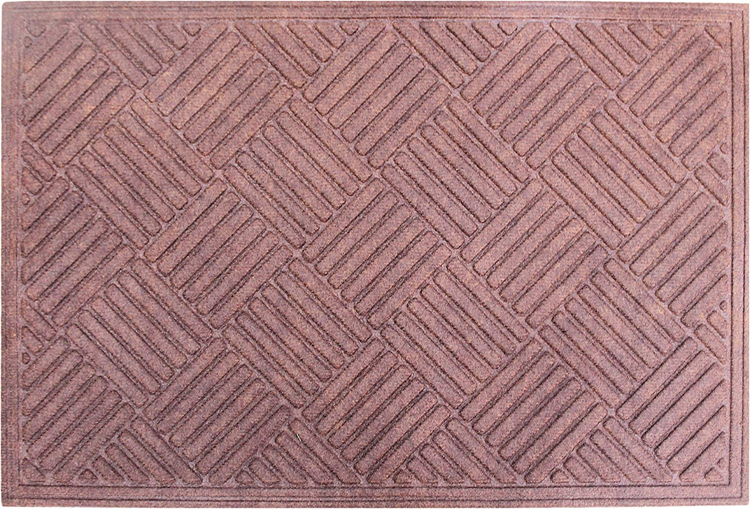 A1 Home Collections First Impression Parquet Eco-Poly Entrance Mats with Anti Slip Fabric Finish and Tire Crumb Backing, 24  W x 36  L, Dark Brown
