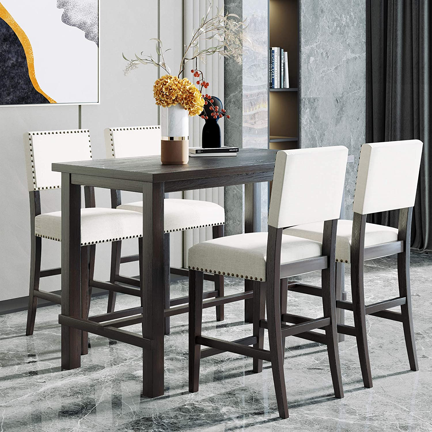 Merax 9 Piece Dining Table Set Counter Height Dining Set with Classic  Elegant Rectangle Table and 9 Padded Chairs for Kitchen Dining Room,Black  and ...