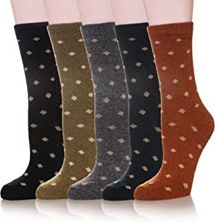 Womens Girls Wool Winter Socks Soft Comfort Warm Crew Cold Weather Casual Boot Socks 5 Pairs