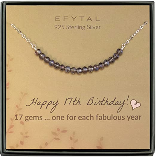 17th Birthday Sterling Silver Necklace - Unique Gift Ideas For 17 Year Old Female Teenage Girl