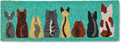 Abbott Collection 35-PFW-AN-2220 Row of Cats Balcony Doormat, Turquoise