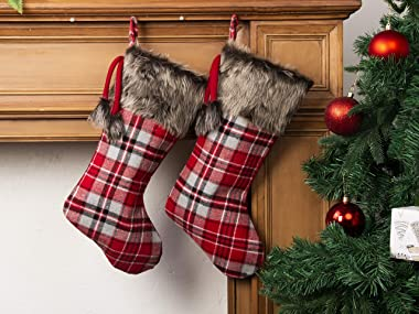 """MOSTOP Christmas Stockings 4 Pack, 18"""" Big Xmas Stockings Burlap Plaid Style and Plush Faux Fur Cuff Family Pack Stocking"""