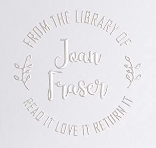 "Library Book Embosser Seal Stamp Personalized Customized 1 x 5/8"" (Fern)"