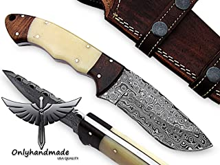 Beautiful Damascus Knife Made of Remarkable Damascus Steel and Rose Wood and Bone Handle -Its A Hunting Knife with Sheath OHM-058