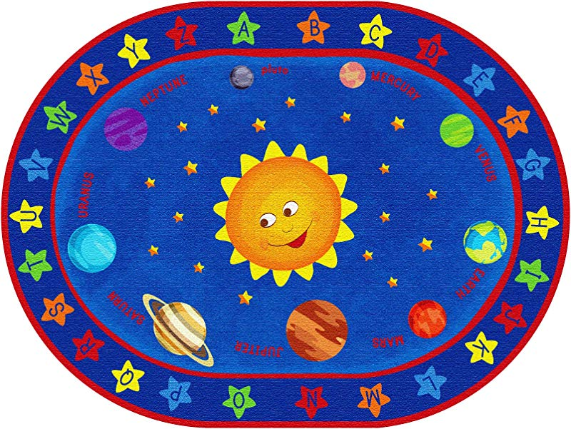 ECR4Kids Out Of This World Alphabet Educational Rug For Children School Classroom Learning Carpet Oval 6 X 9 Feet