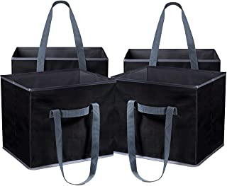 Reusable Shopping Cube Grocery Bag - These Sturdy Tote Bags will Keep your Car Trunk Groceries in Place. Long Handles to C...
