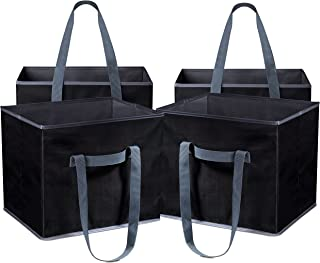 Reusable Shopping Cube Grocery Bag - These Sturdy Tote Bags will Keep your Car Trunk Groceries in Place. Long Handles to Carry in Hand or Over Shoulder. Folds Flat for Convenient Storage. (Set of 4)