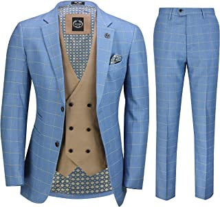 Mens 3 Piece Sky Blue Windowpane Check Suit with Retro Double Breasted Waistcoat Tailored Fit