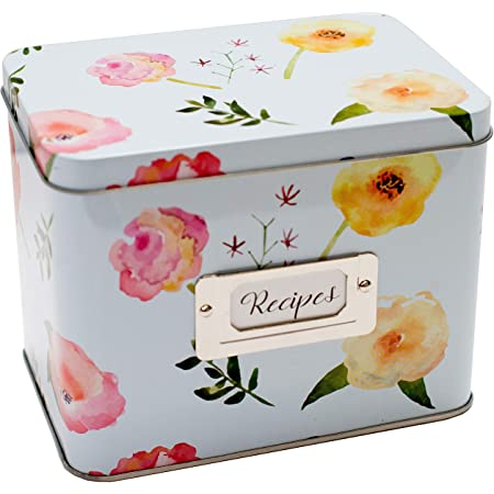 Heart&Berry Recipe Box With Cards And Dividers - Includes 24 4x6 Recipe Cards And 12 Dividers - Recipe Cards And Box Set - Compatible With Standard 4 X 6 Inches Index Cards Recipe Tin…
