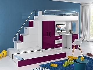 Cama alta TOMI – escritorio, armario, escalera y cama de invitados con frentes brillantes en blanco/negro/rosa/gris/violeta/azul