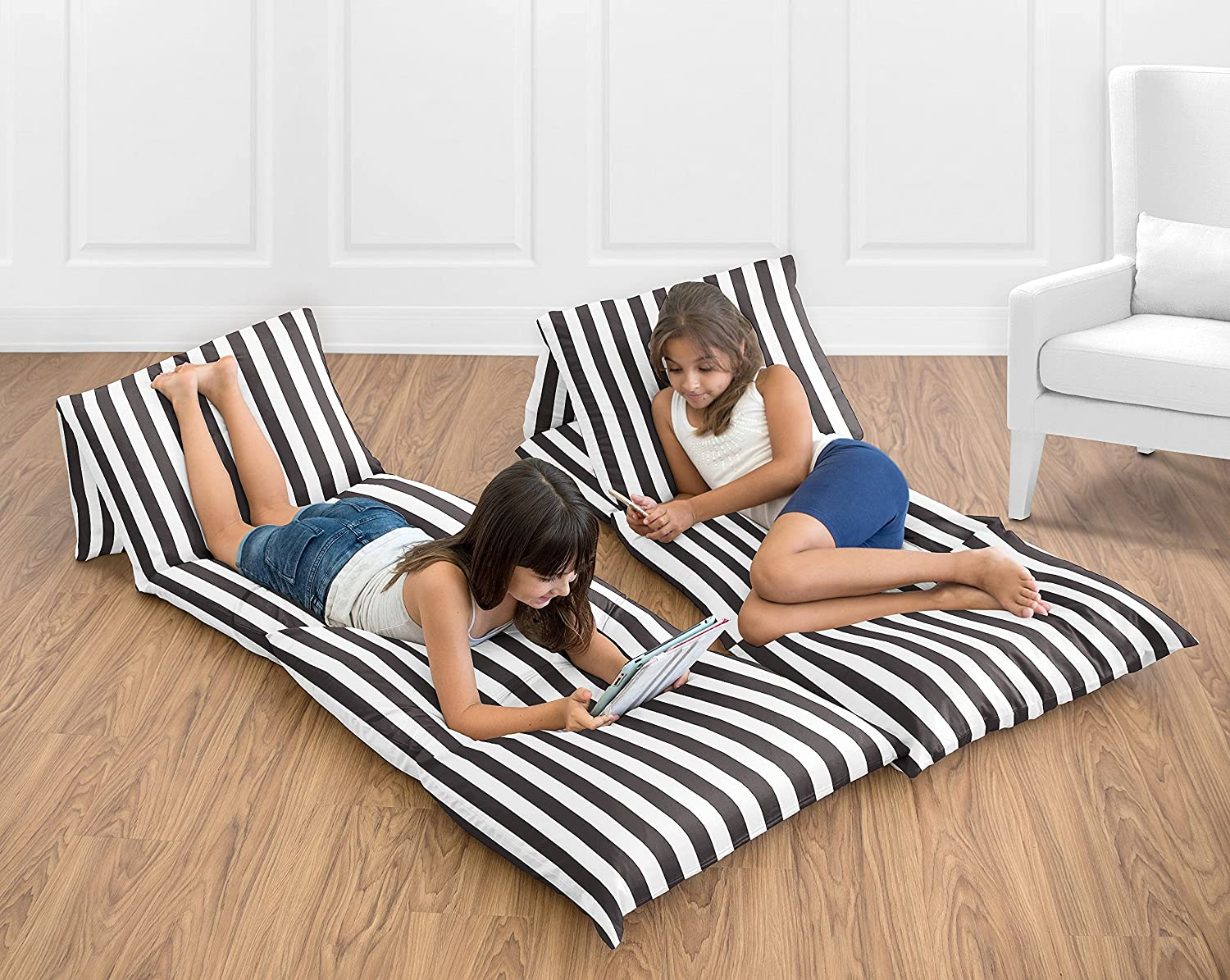 Sweet Jojo Designs Black and White Stripe Kids Teen Floor Pillow Case Lounger Cushion Cover for Paris Collection (Pillows Not Included)