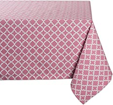 "DII Rectangle Lattice Cotton Tablecloth for Weddings, Picnics, Summer Parties and Everyday Use - 60x104"", Rose Pink and White"