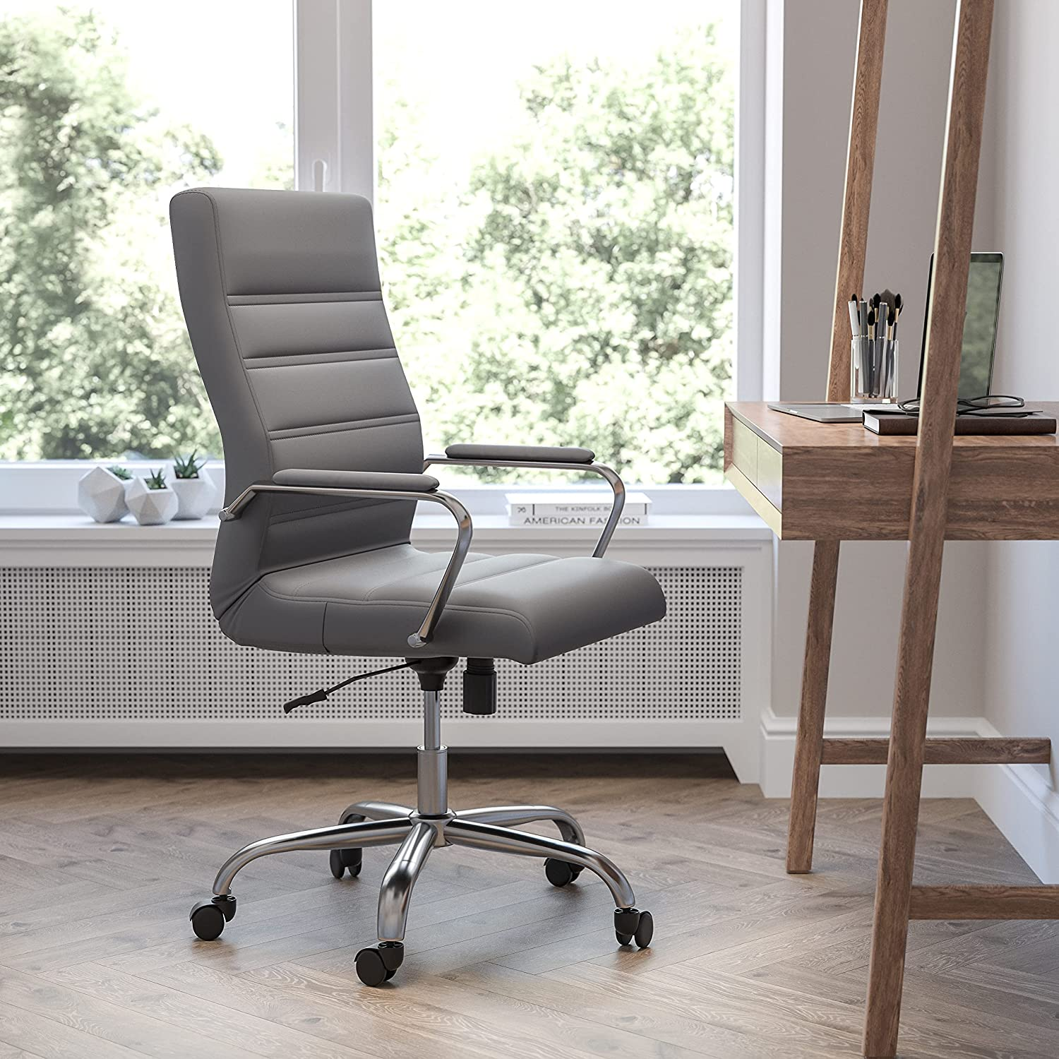 Flash Furniture High Back Desk Chair - Gray LeatherSoft Executive Swivel Office Chair with Chrome Frame - Swivel Arm Chair