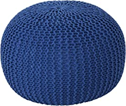Christopher Knight Home Belle Knitted Cotton Pouf, Navy